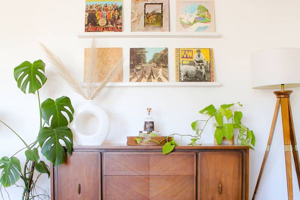 A credenza surrounded by plants