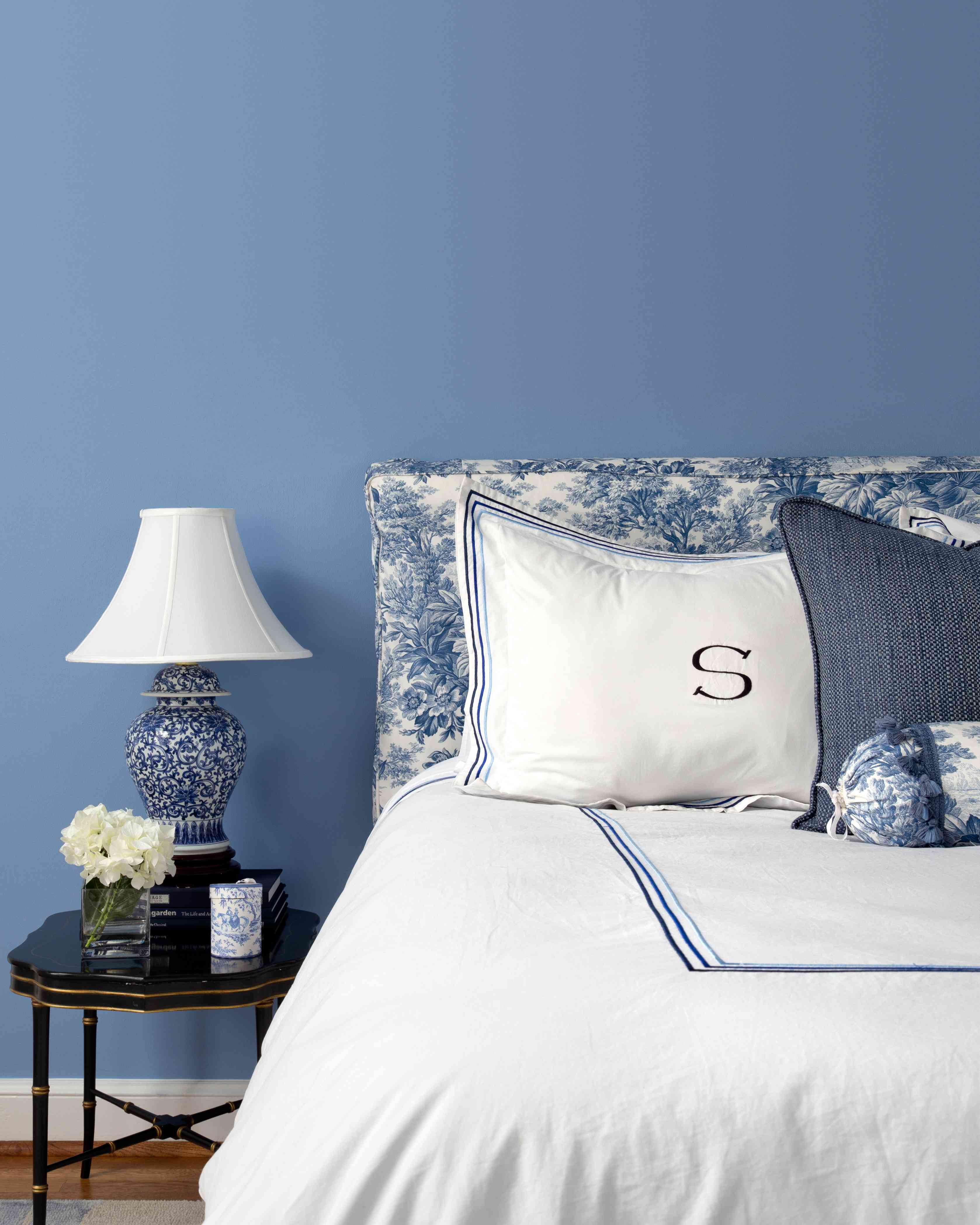 Monogram pillowcase with blue chinoiserie accents