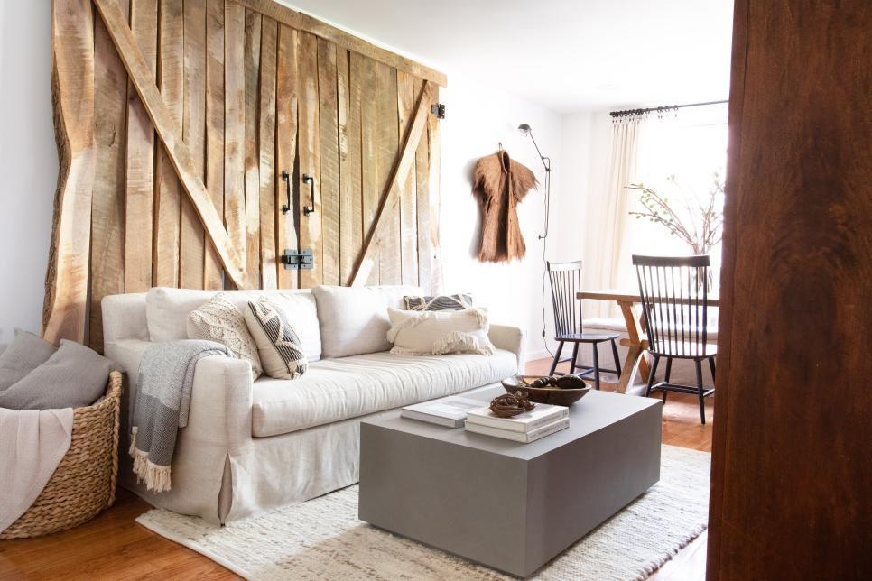 Living room with barn doors