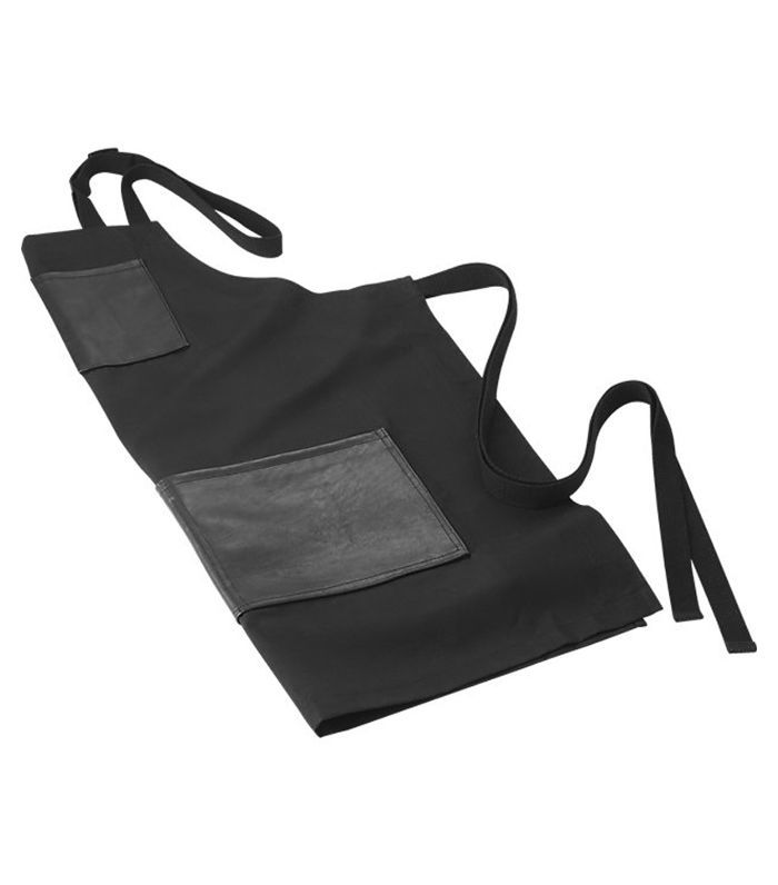 Black Waxed Cotton and Leather Apron