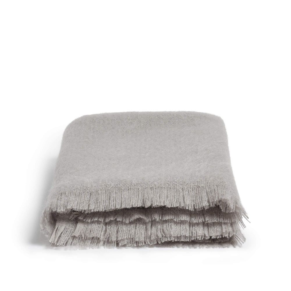 Alba Mohair Throw in Silver