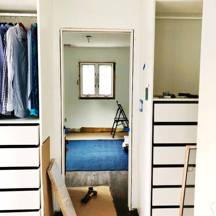 An IKEA closet in the process of being built