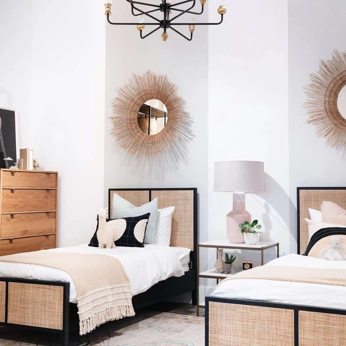 Modern shared kids bedroom with gray painted headboard stripes