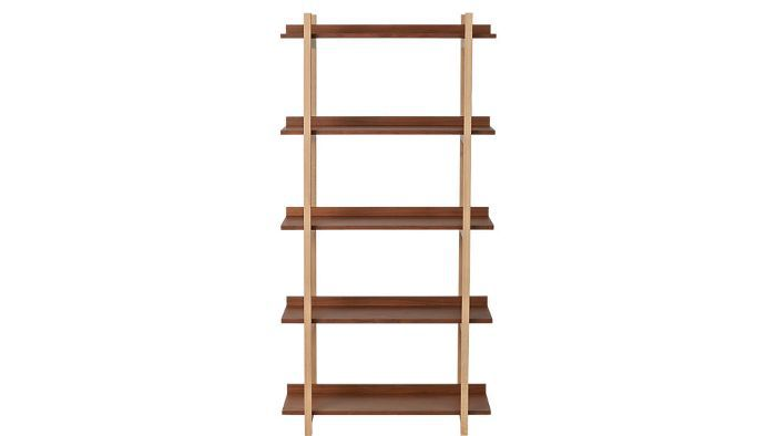 CB2 Stax Walnut Bookcase—Midcentury Modern Living Rooms