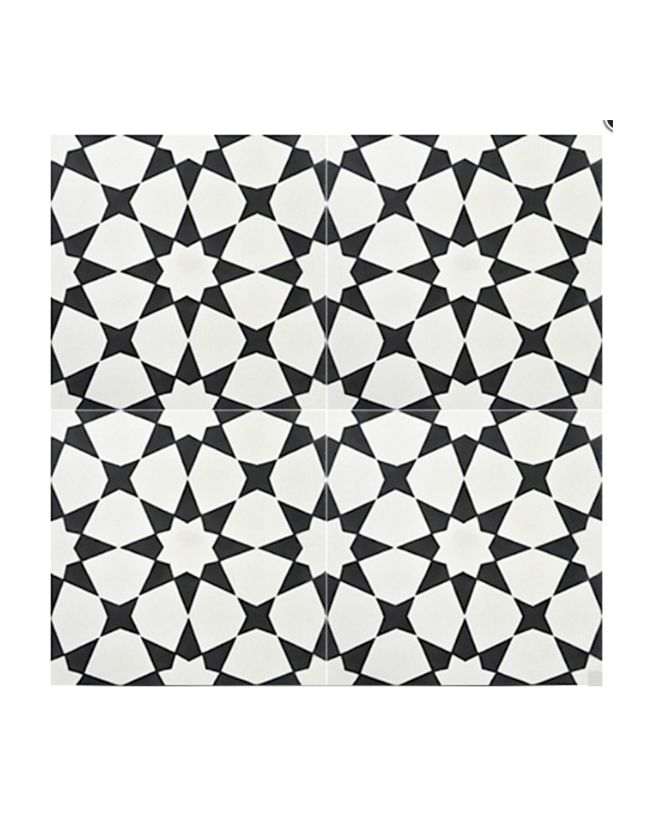 black and white geometric floor tile