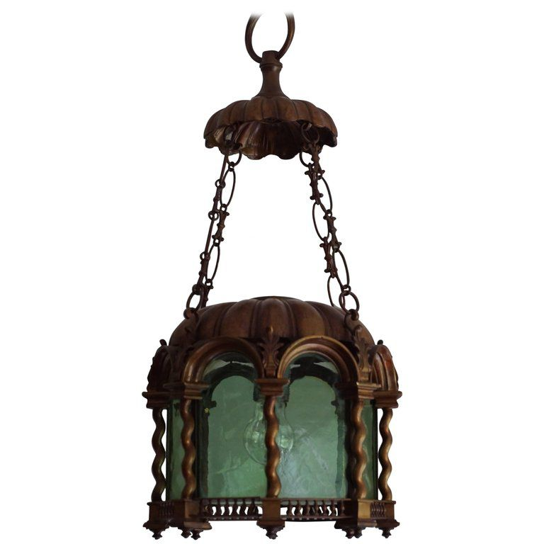 Baroque Revival Early 20th Century Bronze and Green Gass Lantern