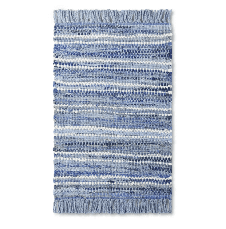 Striped Woven Jute Scatter Rug