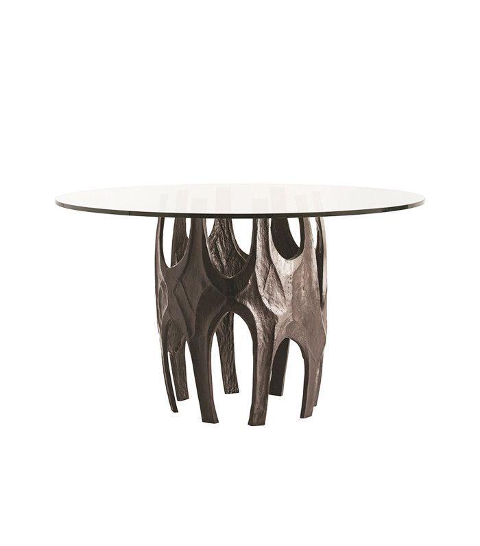 Organic metal table base with glass tabletop