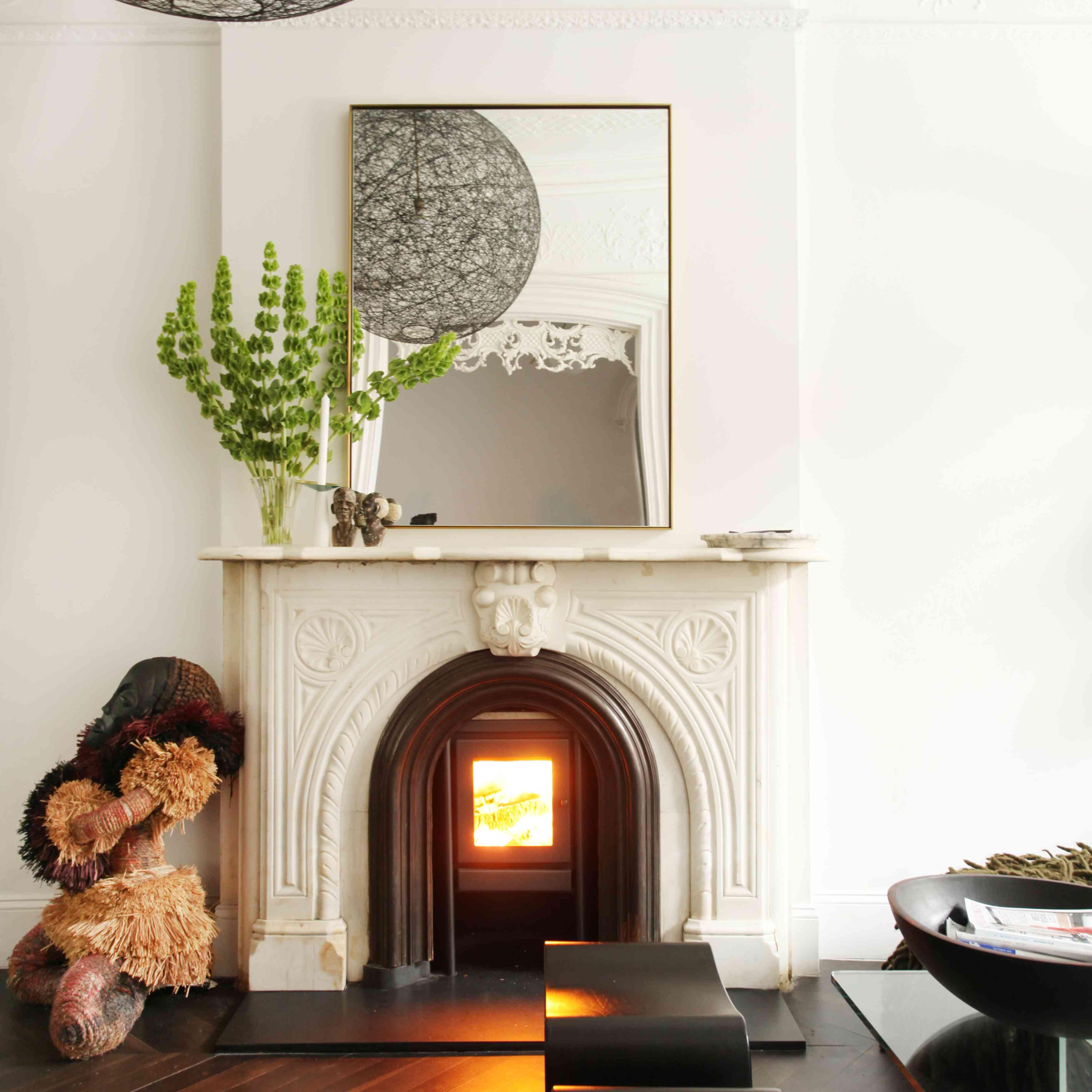 wood floor ornate fireplace