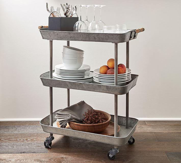 metal three shelf bar cart