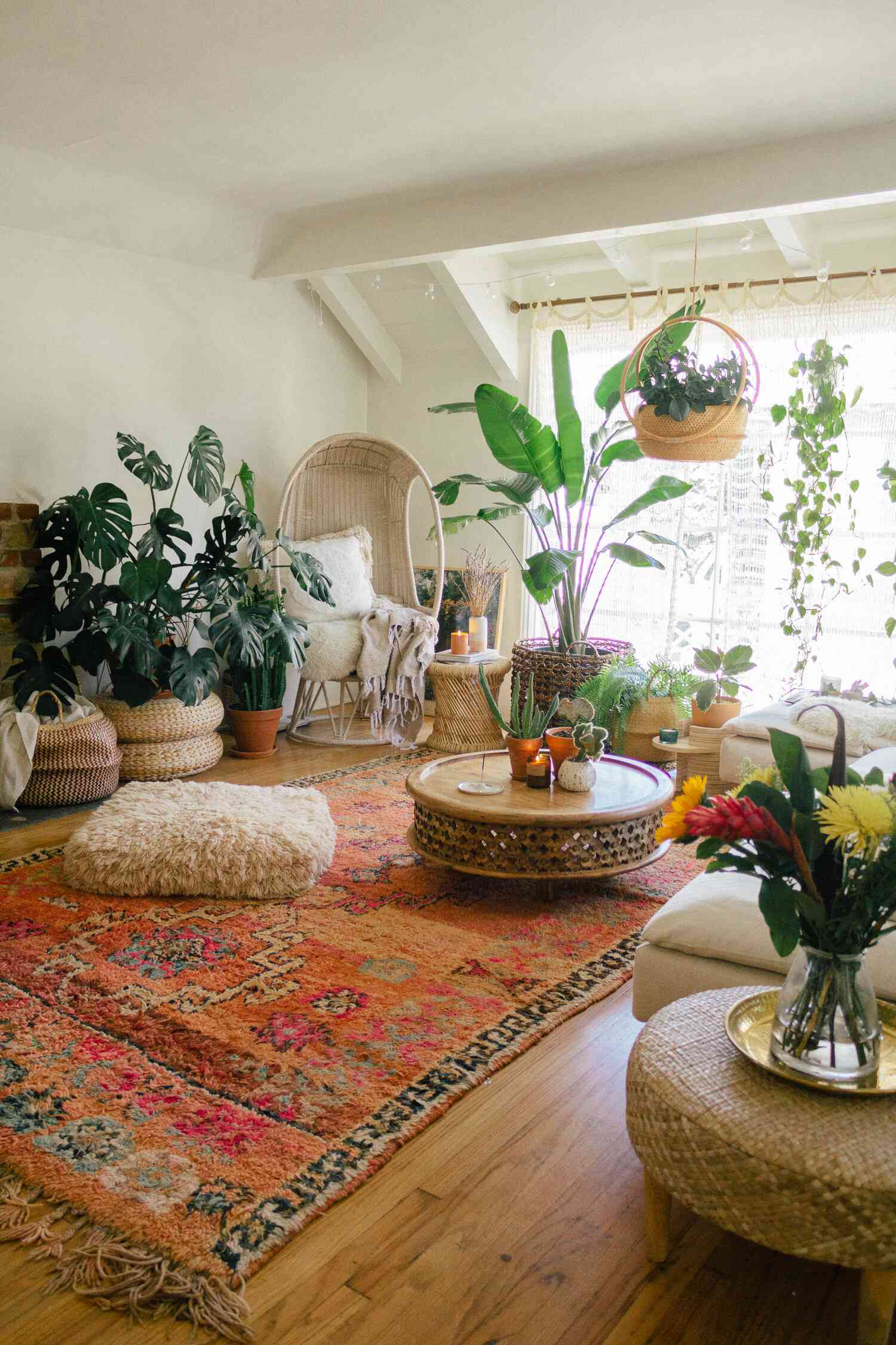 Bohemian living room with plants and vintage area rug