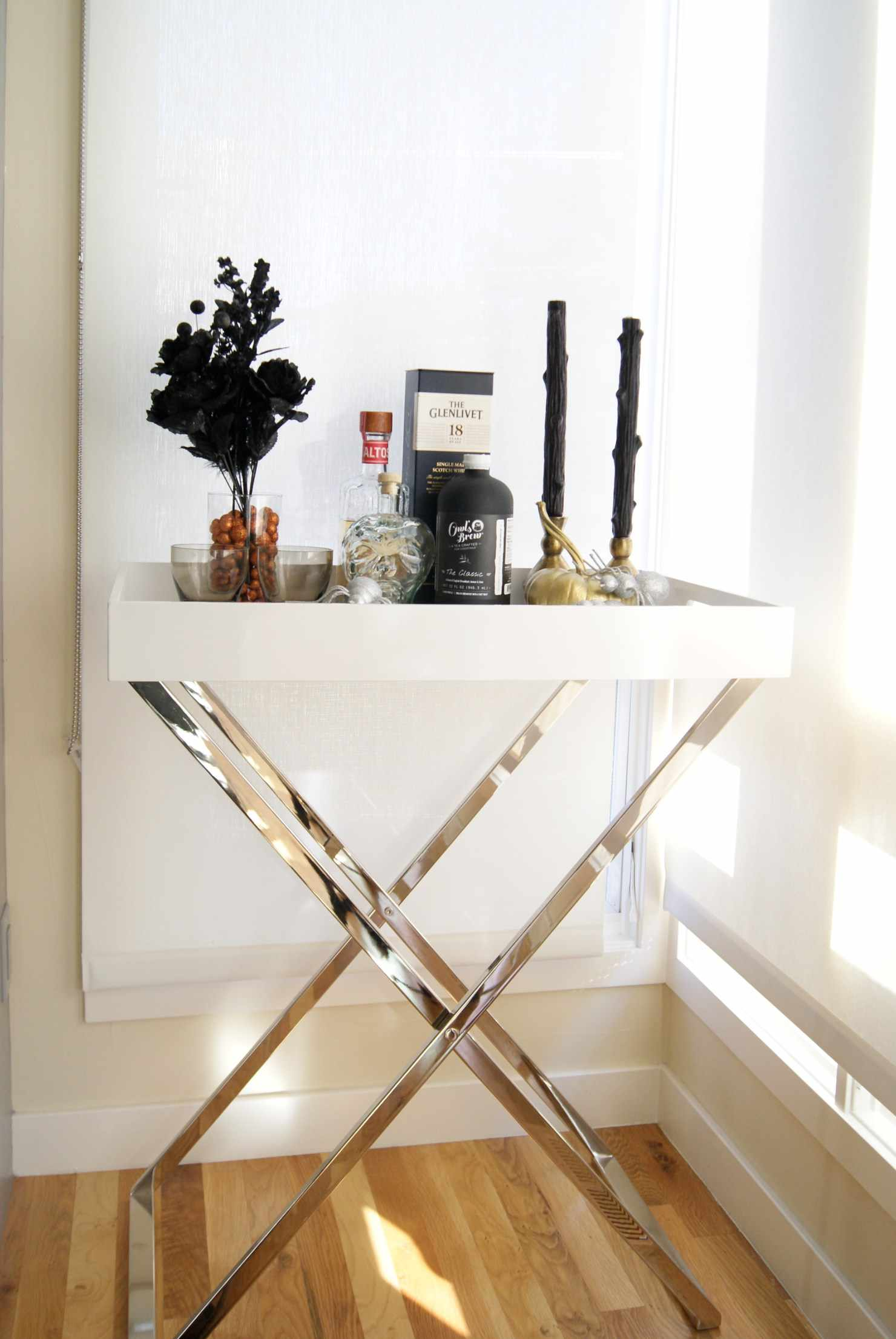 Table with black candles