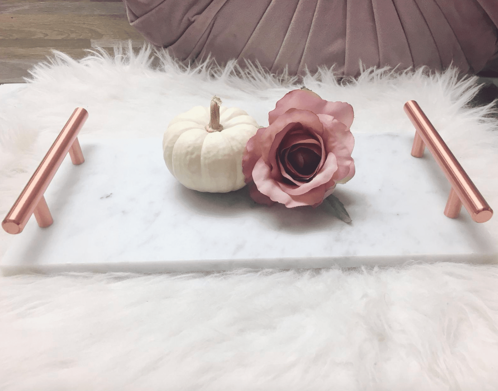 White Marble Tray with Copper