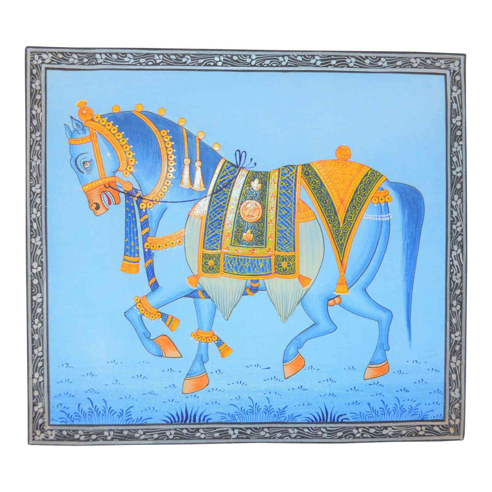 1990s Folk Art Mughal Style Indian Horse Painting