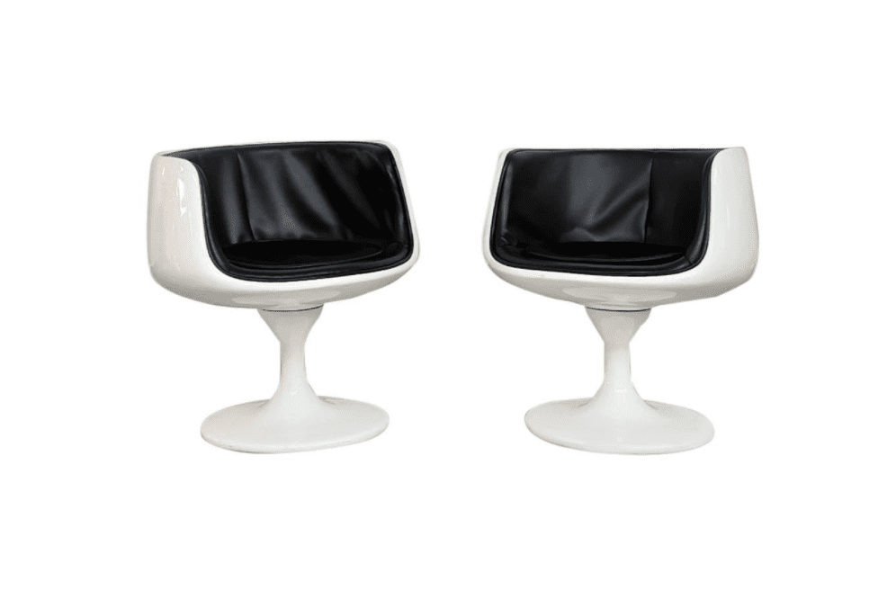 Space Age White Plastic and Black Vinyl Chairs
