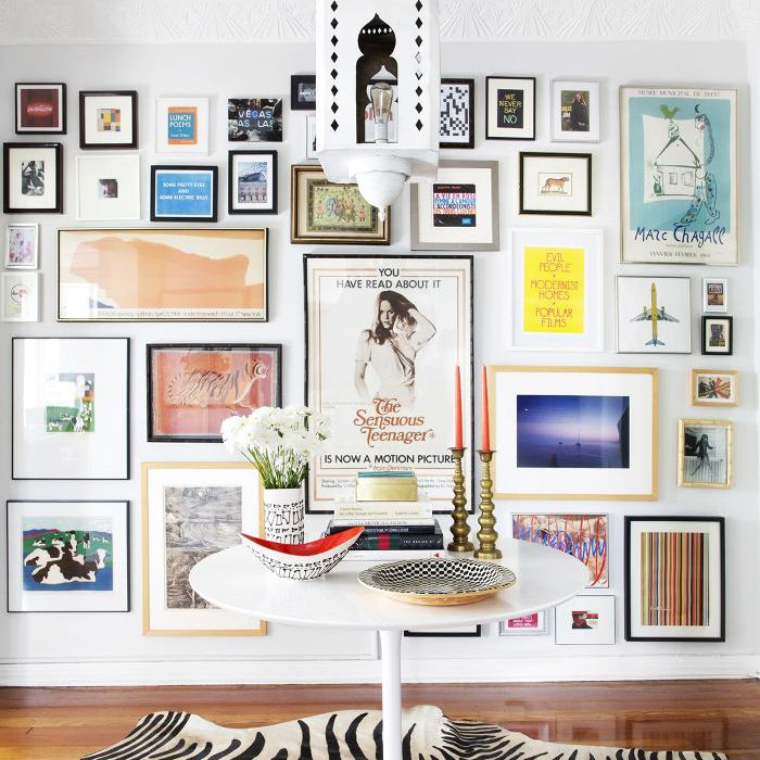 Gallery wall in a maximalist living area