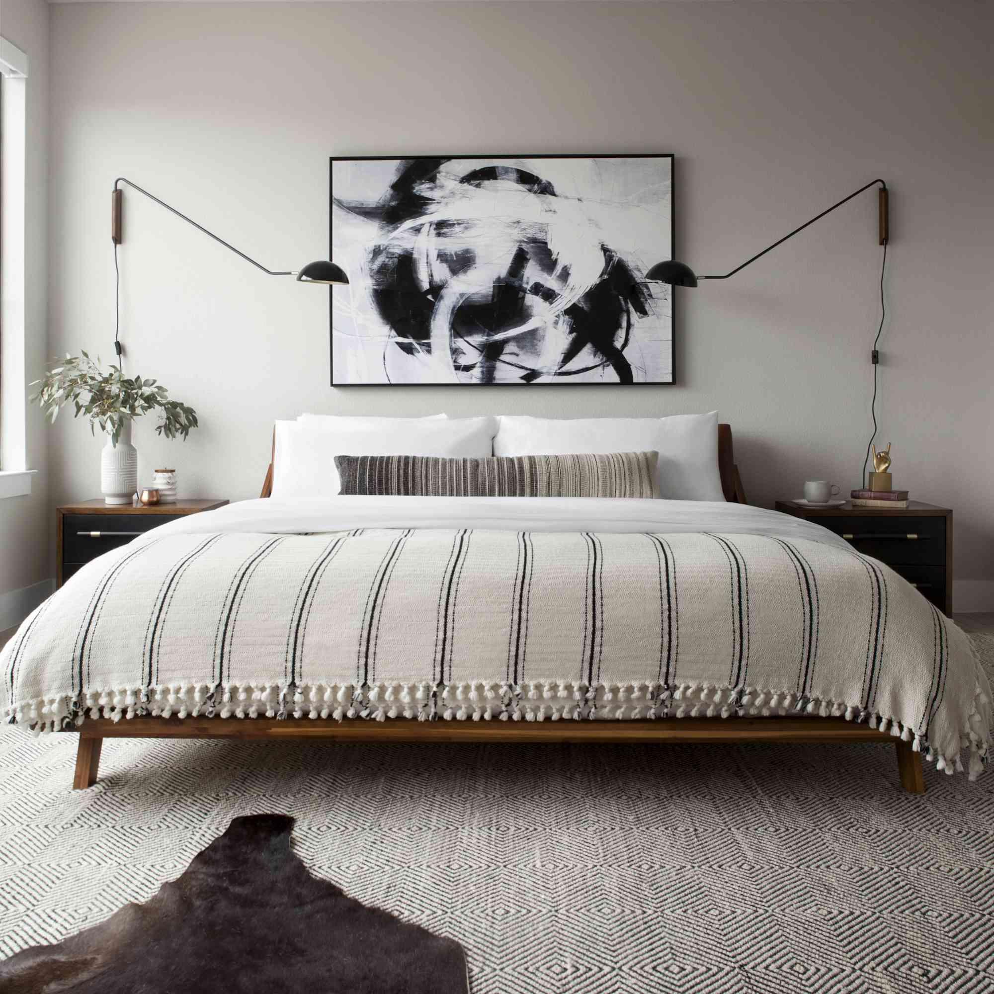 Black, white, and gray modern bedroom