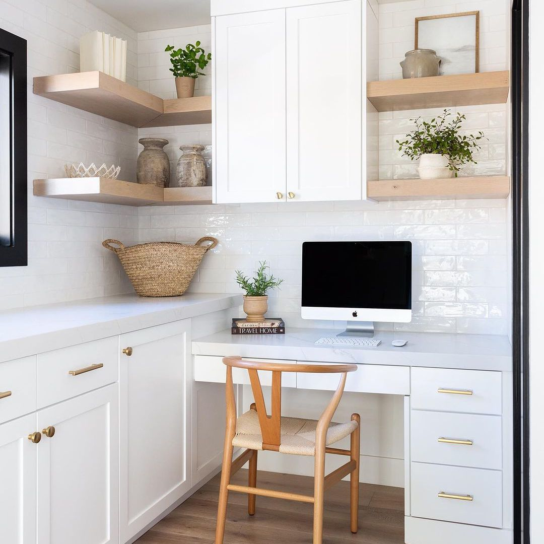 Home office in a kitchen