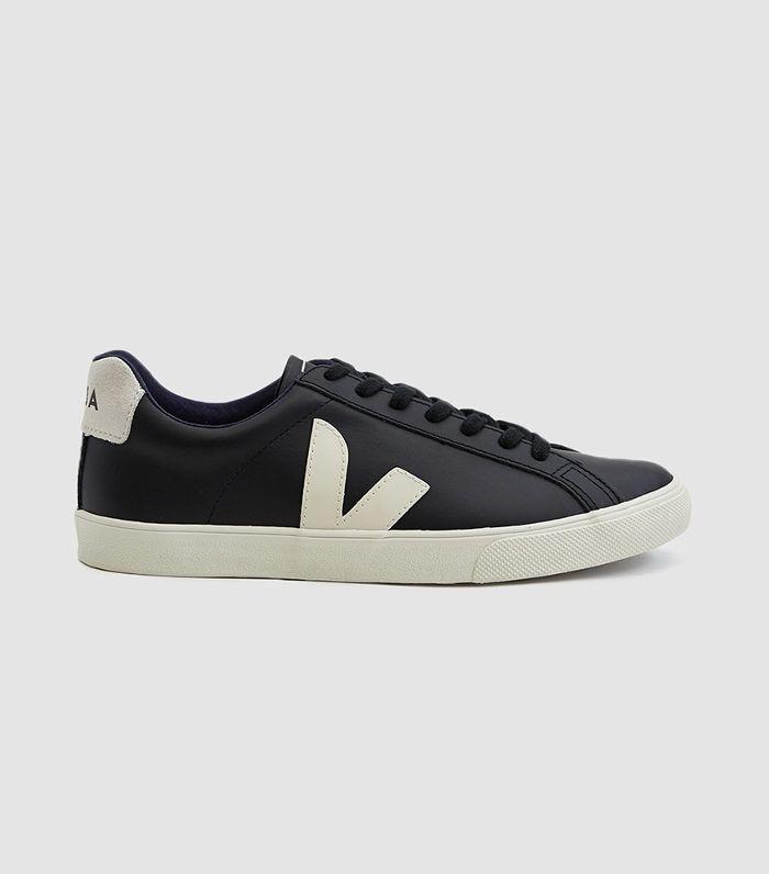 Esplar Logo Leather Sneaker in Black Pierre
