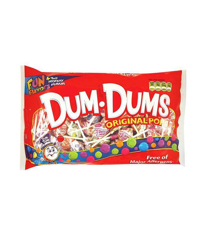 A red bag of Dum-Dums lollipops.