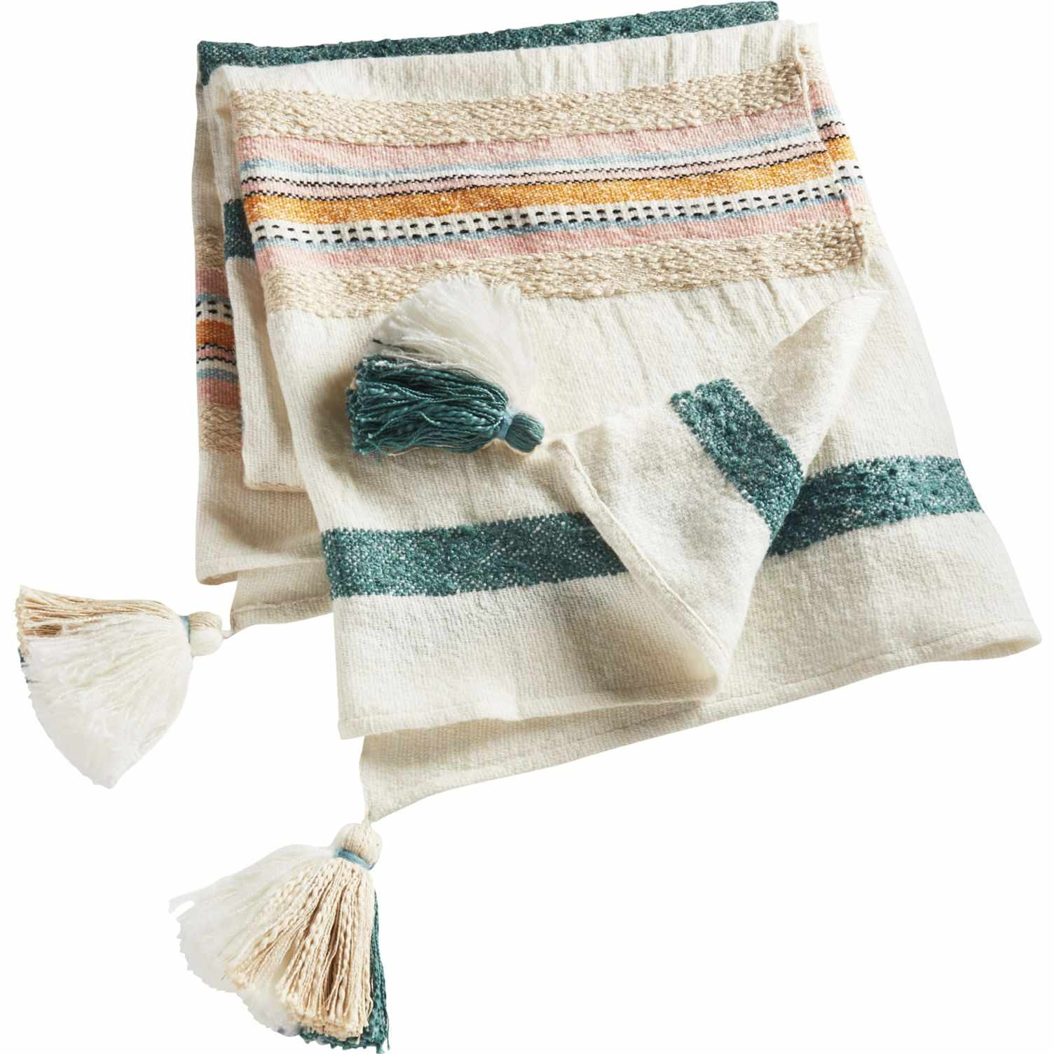 A white throw blanket with green, pink, and yellow stripes and tassels.