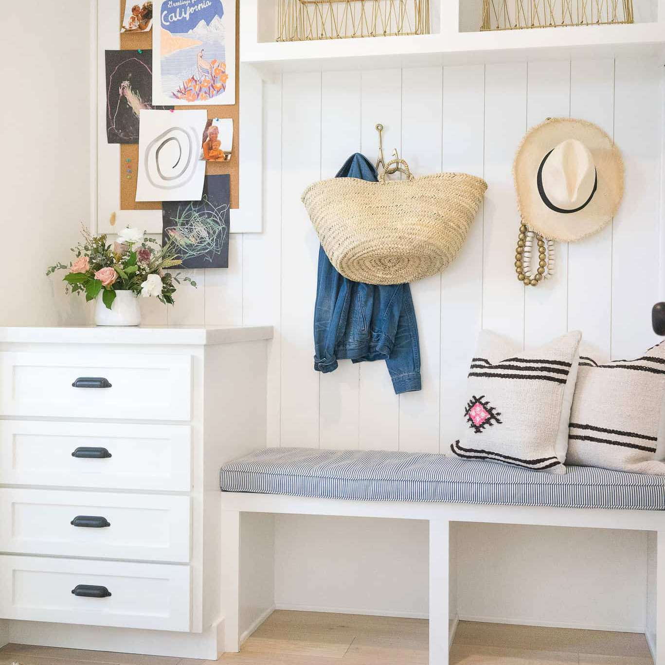 Mudroom with drawers and open shelves