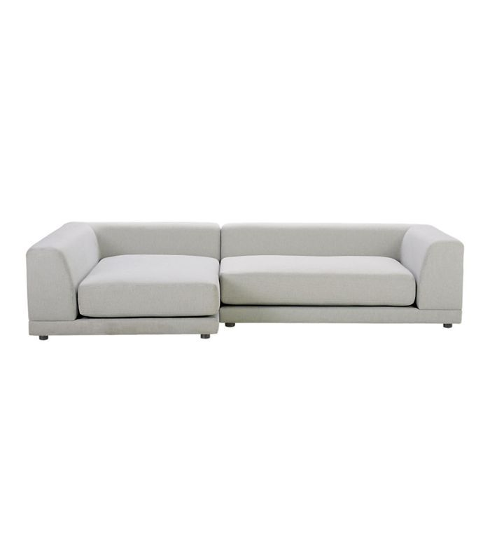 CB2 Uno 2-Piece Right Arm Sapphire Striped Sectional Sofa