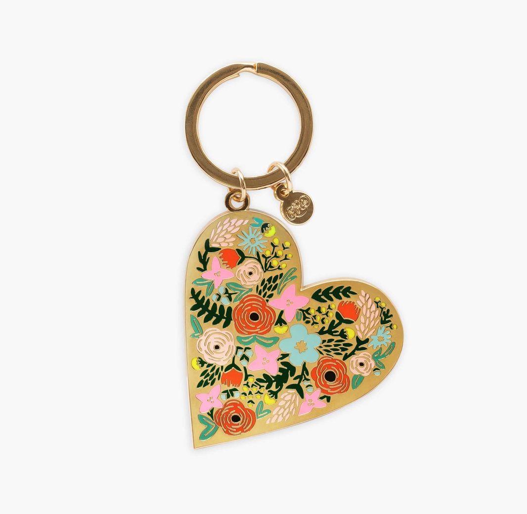 Floral Heart Enamel Keychain