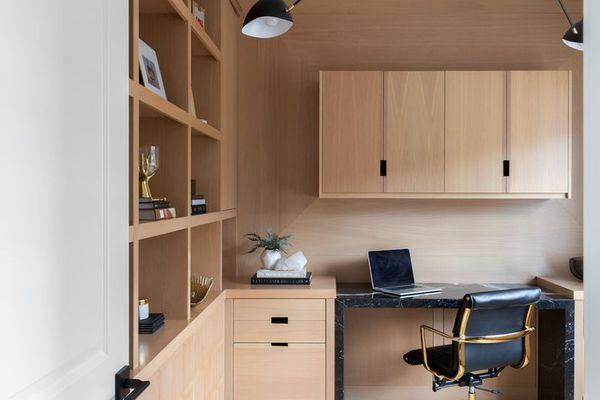 wood paneling office