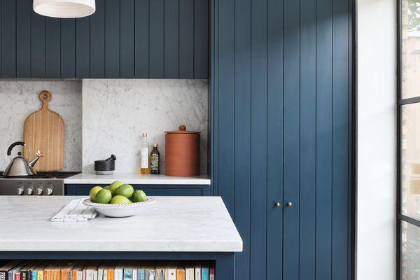 cabinet refinishing blue kitchen