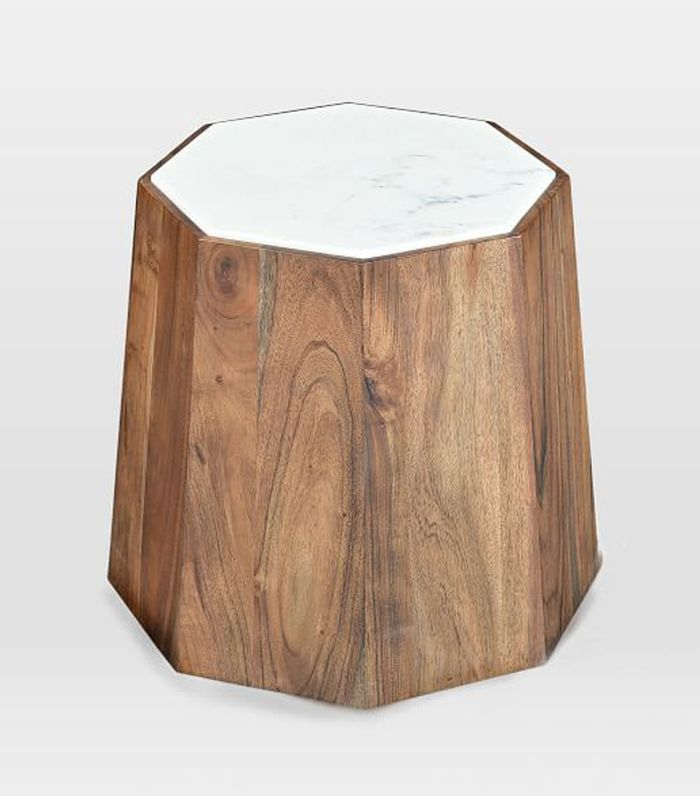 West Elm Marble + Wood Geo Side Table