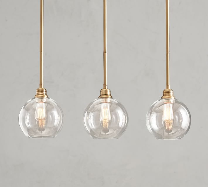 PB Classic 3-Light Pendant with Glass Globe Shade