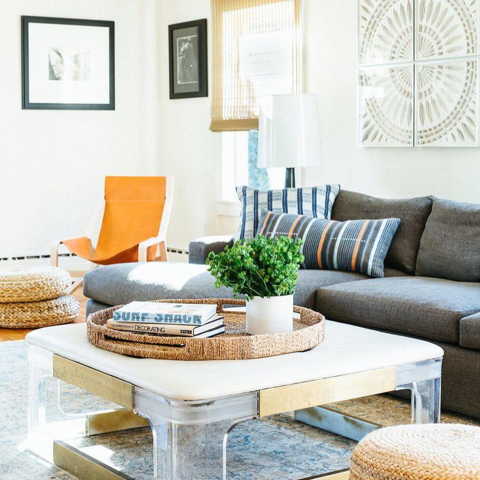 Living room with orange