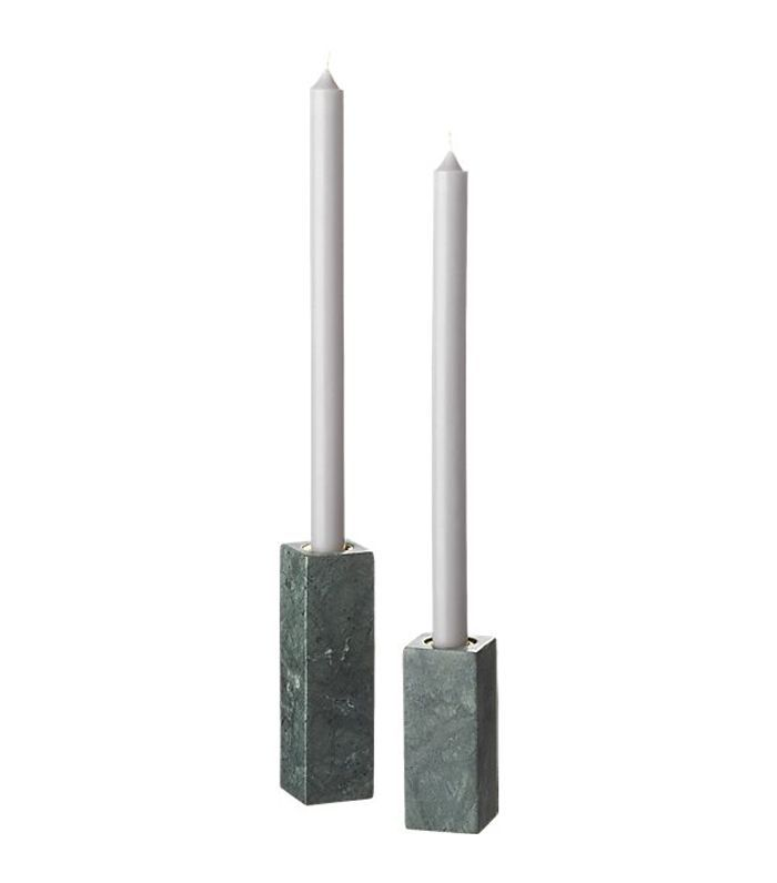 Green Marble Taper Candle Holders Set of 2