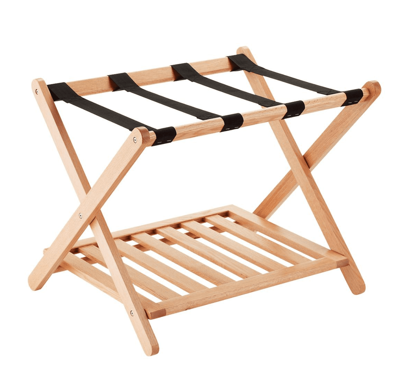 A wooden luggage rack, which is currently for sale at The Container Store