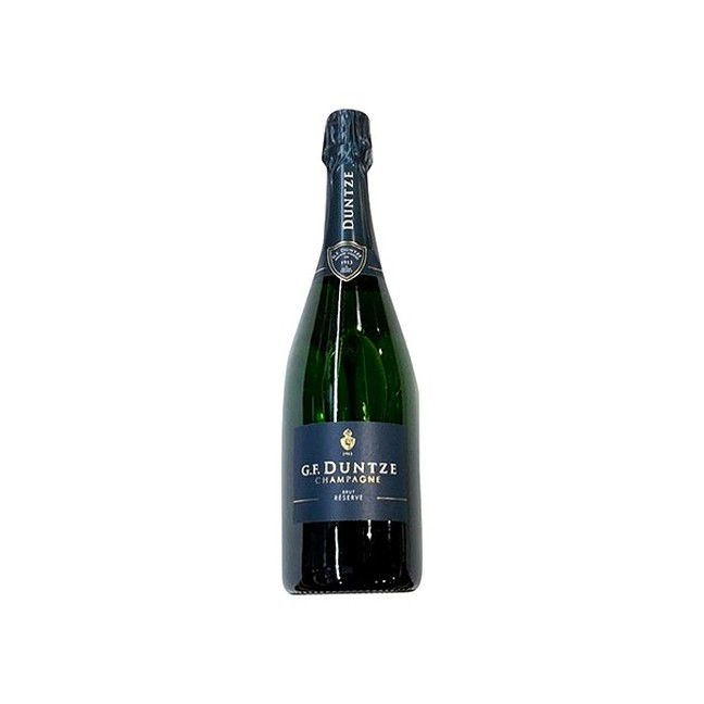 Bottle of champagne against a white background.