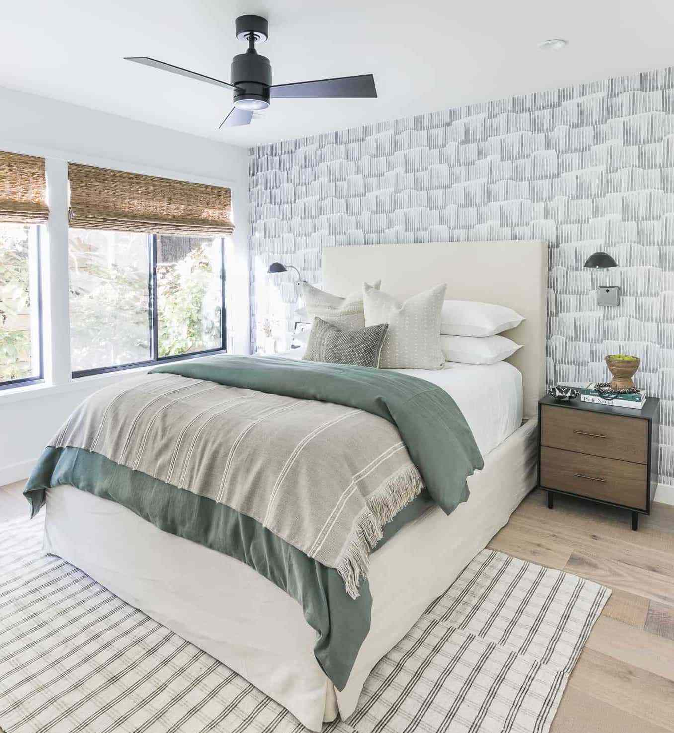 bedroom with soft blues and muted green
