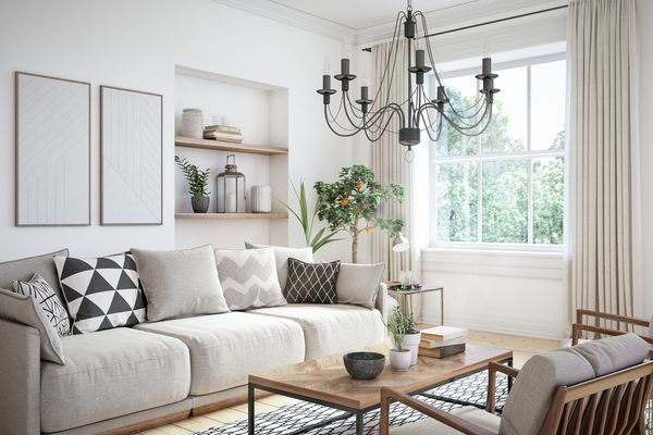 Cream monochromatic living room