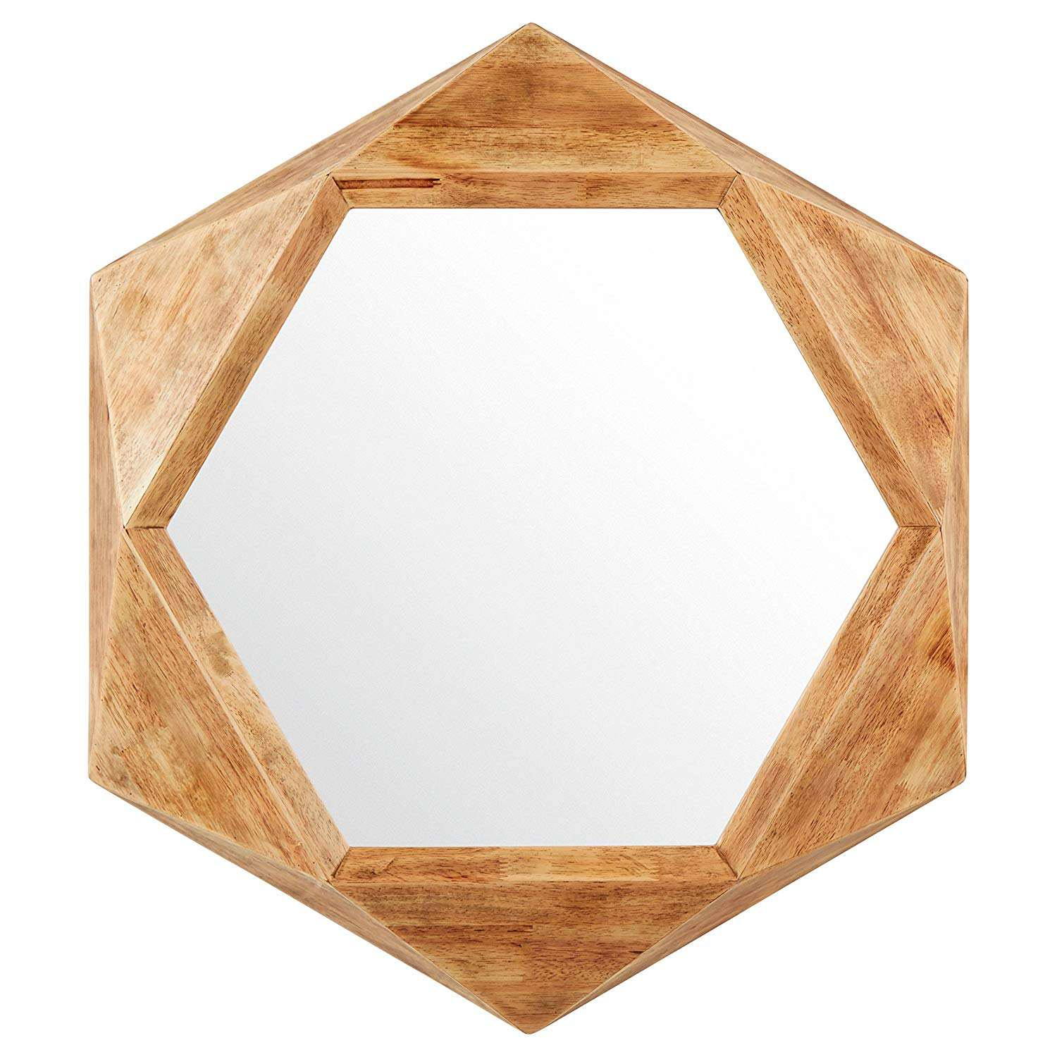 Modern Hexagon Wood Frame Mirror