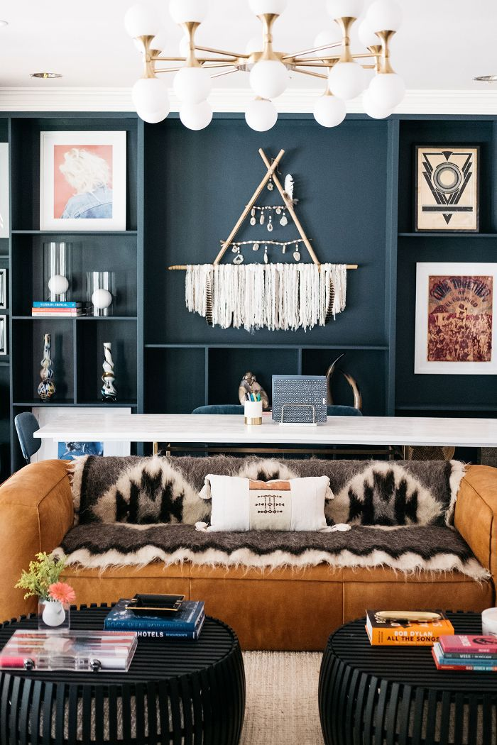 Trish and Billy Ray Cyrus—modern living room