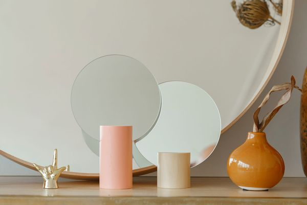 Mirrors And Decorations On Shelf
