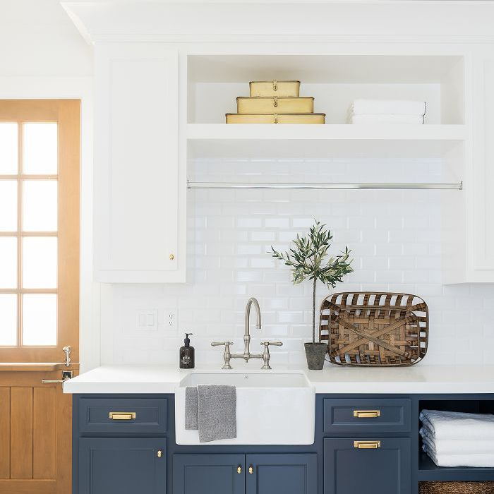 Shea McGee basic home décor essentials: a kitchen with a decorative tray