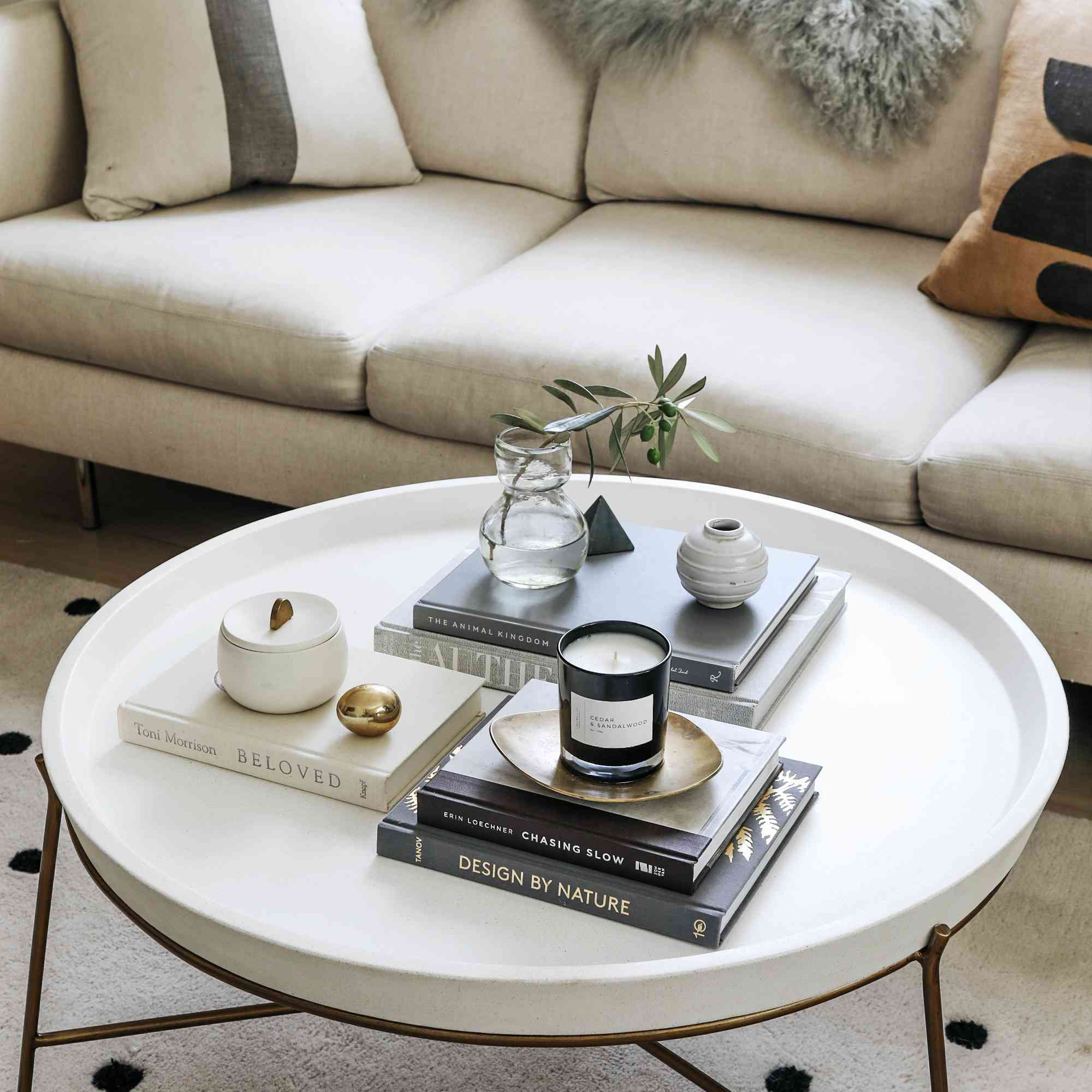 Styled living room coffee table
