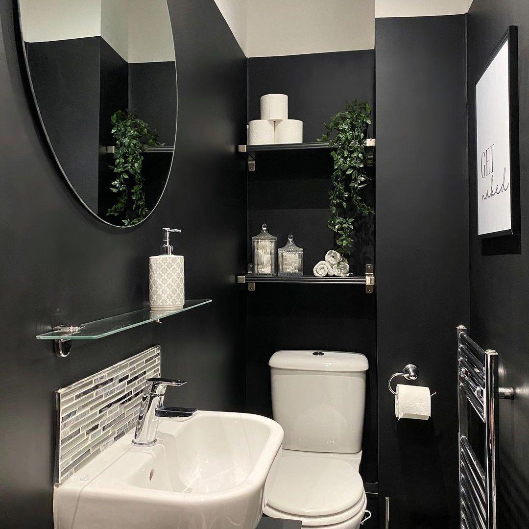 Black bathroom with shelves