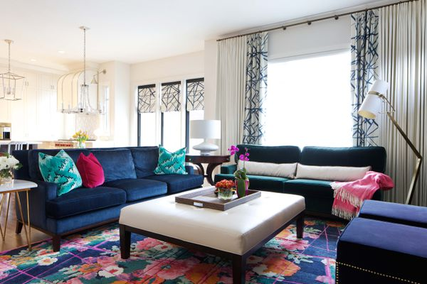 curtain length bright and colorful living room