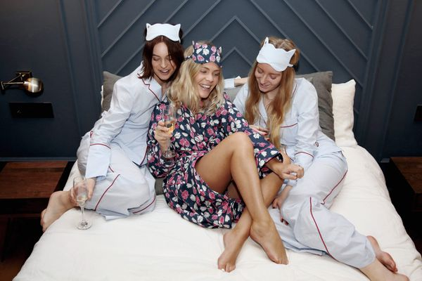 things to do at a sleepover - girls in matching pj sets