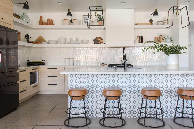 Cocina de diseño de cobre azul