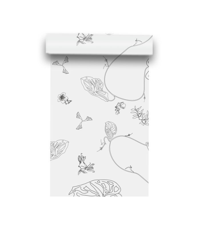 August Abode Anthurium Waltz Wallpaper in Chalk
