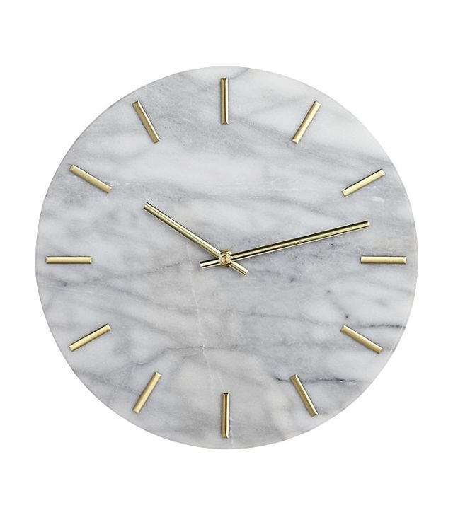 CB2 Carlo Marble and Brass Wall Clock