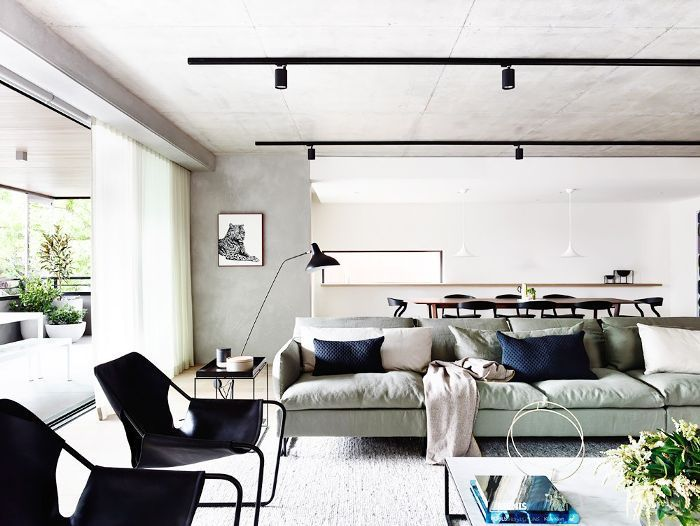 Living room with sofa floating in the middle of space